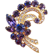 Eisenberg Ice Purple Rhinestone Flower Spray Brooch