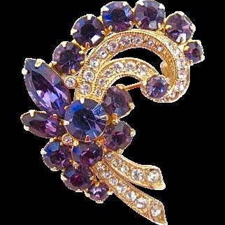 Eisenberg Ice Purple Rhinestone Flower Spray Brooch