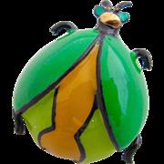 "Vintage Eisenberg ""Artist Series"" Green Enamel Rare Ladybug Pin"