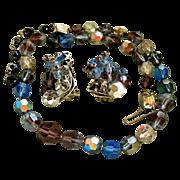 Vintage EUGENE Single Strand Crystal Bead Necklace & Signed Earring Set