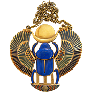 Vintage Thomas Fattorini Rare Huge Egyptian Revival Scarab Pendant Necklace - Book Piece