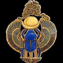 Vintage Thomas Fattorini Rare Huge Egyptian Revival Scarab Pendant Necklace - Book Piece