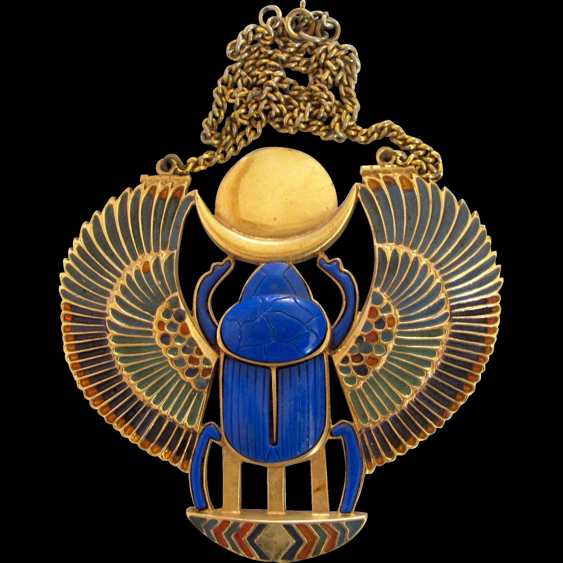 Vintage thomas fattorini rare huge egyptian revival scarab pendant vintage thomas fattorini rare huge egyptian revival scarab pendant 2hearts jewelry accessories ruby lane aloadofball Choice Image