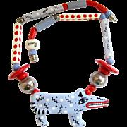 Vintage Ruby Z Ceramic Critter Pendant Necklace