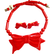 Ruby Z By Candace Loheed Ceramic Red Bow Necklace and Earring Set