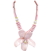 Ruby Z Huge Pink Ceramic Flower Necklace