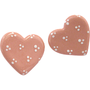 Vintage Pink Ceramic Heart Pierced Earrings