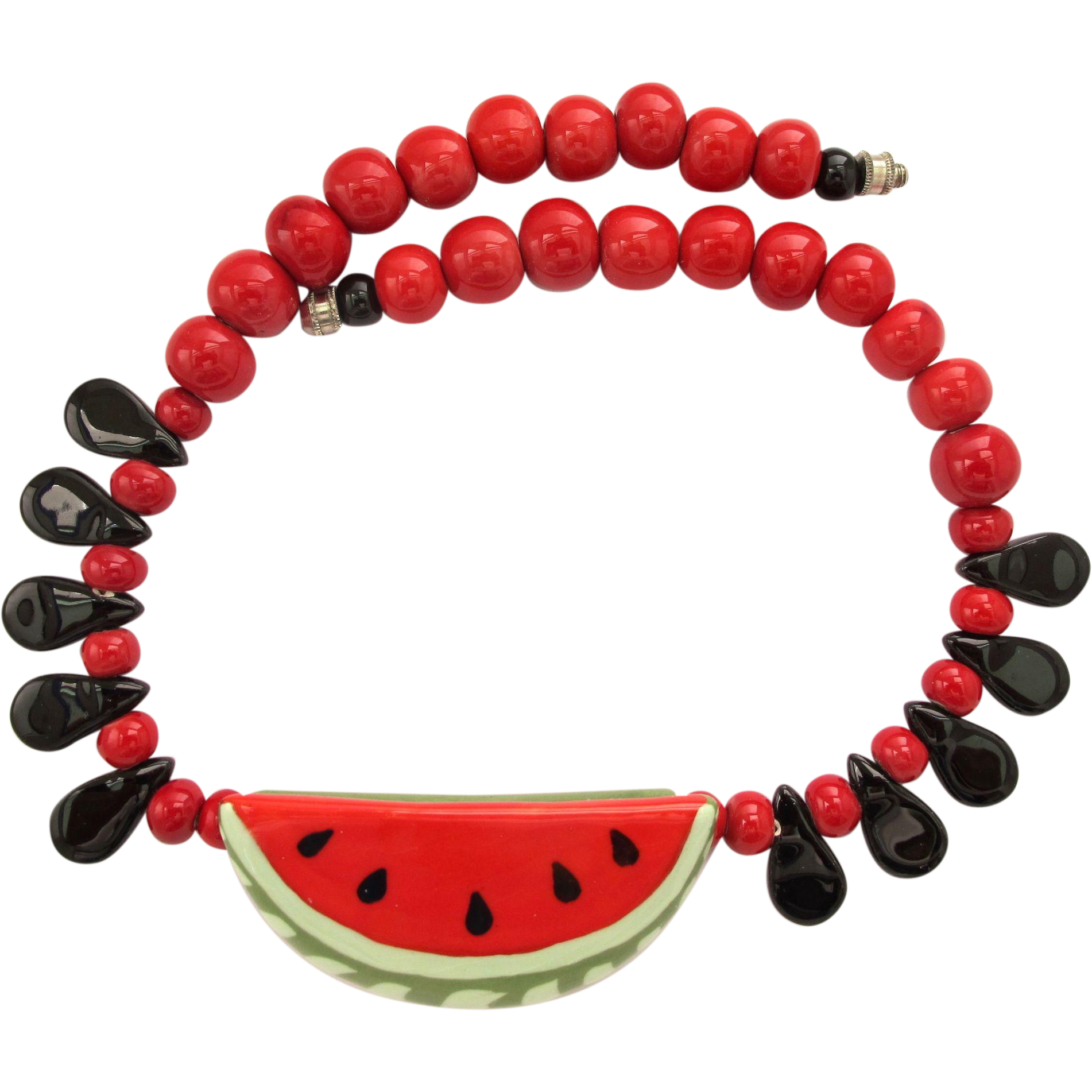 vintage flying colors ceramic watermelon necklace from