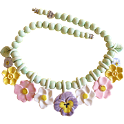Flying Colors Ceramic Pastel Flowers Necklace