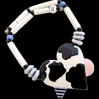Vintage Ruby Z Ceramic Heart Pendant Necklace by Candace Loheed