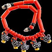 Vintage Flying Colors Speckled Hen Ceramic Necklace