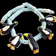 Vintage Parrot Pearls Ceramic Penguin Necklace