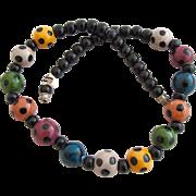 Vintage Flying Colors Polka Dot Ceramic Bead Necklace