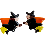 Vintage Flying Colors Happy Halloween Flying Witches Pierced Earrings