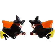 Vintage Flying Colors Scary Halloween Flying Witches Pierced Earrings
