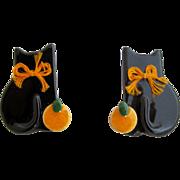 Vintage Flying Colors Black Halloween Cat Pierced Earrings