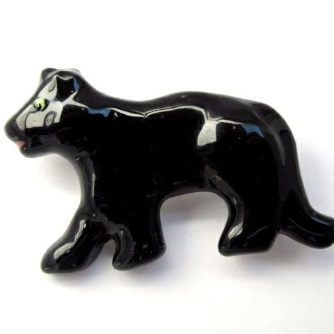 Signed Flying Colors Ceramic Black Lab Pin
