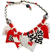 Vintage Ruby Z Candace Loheed Ceramic Heart Necklace in Red, White and Black