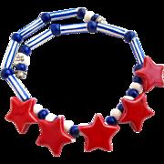 Vintage Flying Colors Patriotic Red Stars Ceramic Necklace