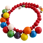 Vintage Flying Colors Colored Ball Ceramic Necklace