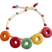 Vintage Flying Colors Ceramic Lifesavers Necklace