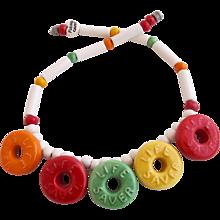 Vintage Flying Colors Ceramic Lifesavers Necklace