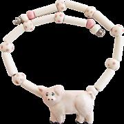 Vintage Flying Colors Ceramic Pig Necklace