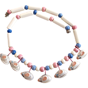 Vintage Flying Colors Ceramic Mice Necklace
