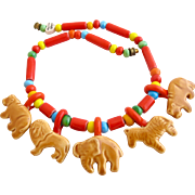 Vintage Flying Colors Ceramic African Animal Necklace