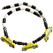 Vintage Flying Colors Ceramic Taxi Cabs Necklace