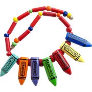 Vintage Flying Colors Ceramic Crayons Necklace