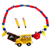 Flying Colors School Theme Ceramic Necklace and Pierced Earrings Set