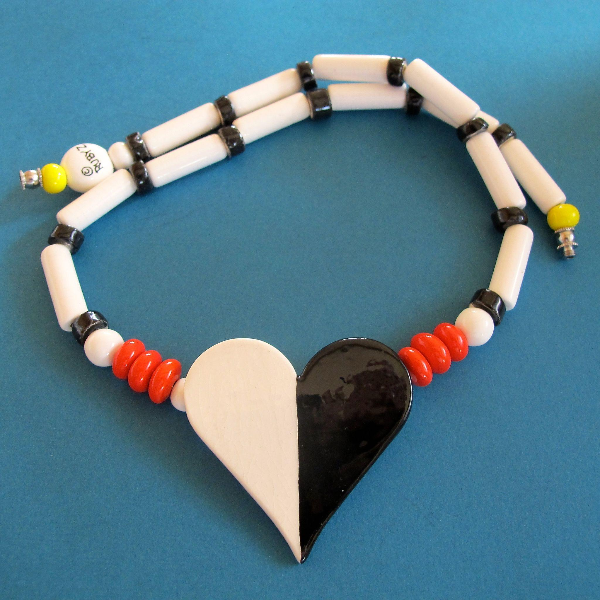 Ruby Z By Bean Finneran Ceramic Heart Necklace From