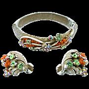 Florenza French White Enamel Bangle Bracelet and Earring Set