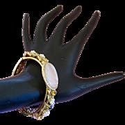 Vintage FLORENZA Gold Tone and MOP Clamper Bracelet