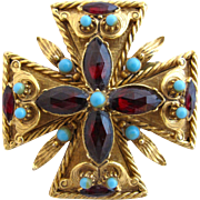 Vintage Florenza Maltese Cross Brooch / Pin