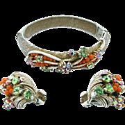 Vintage Florenza French White Enamel Bangle Bracelet and Earring Set