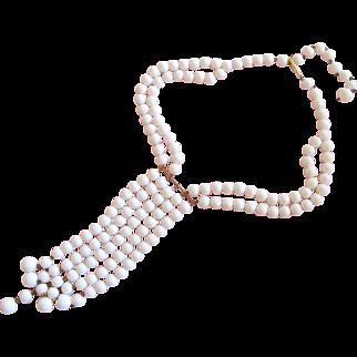 Vintage West German White Bead Dangle Necklace