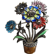 Vintage Sterling Marcasite Flower Pin - Made in Germany