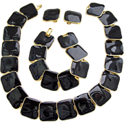 Vintage Goldette NY Black Enamel Modernist Parure
