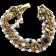 Vintage Goldette Three Strand Faux Pearl and Charm Bracelet
