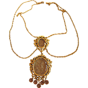 Vintage Goldette Double Intaglio Chandelier Necklace