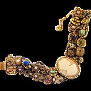Vintage Goldette Cameo Charm Double Slide Bracelet
