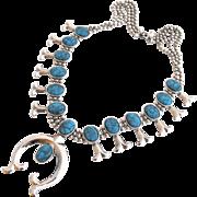 Vintage Goldette Squash Blossom Naja Necklace with Faux Turquoise Stones