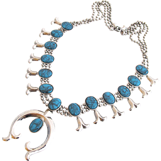 Vintage Goldette Squash Blossom Naja Necklace with Faux Turquoise Stones