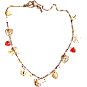 Vintage Hearts and Button Charm Necklace