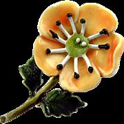 Vintage HAR Peach Enamel Poppy Flower Pin
