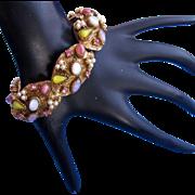 Vintage Signed Har Opalescent Gold Tone Link Bracelet