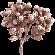 Vintage HAR Faux Pearl Flower Cluster Brooch
