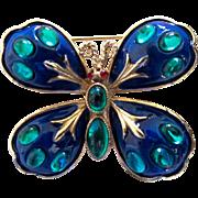 Vintage HAR Blue Enamel Green Cabochon Butterfly Pin / Brooch